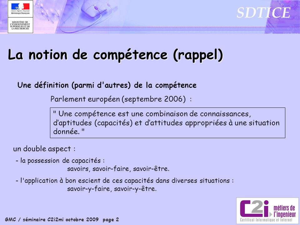 La notion de compétence (rappel)