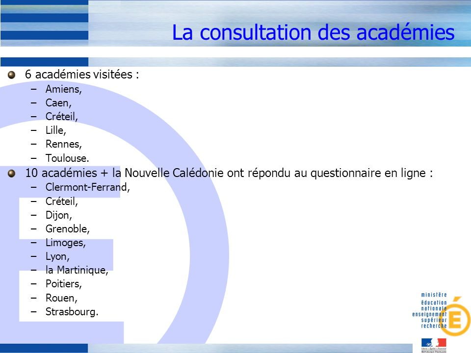 La consultation des académies