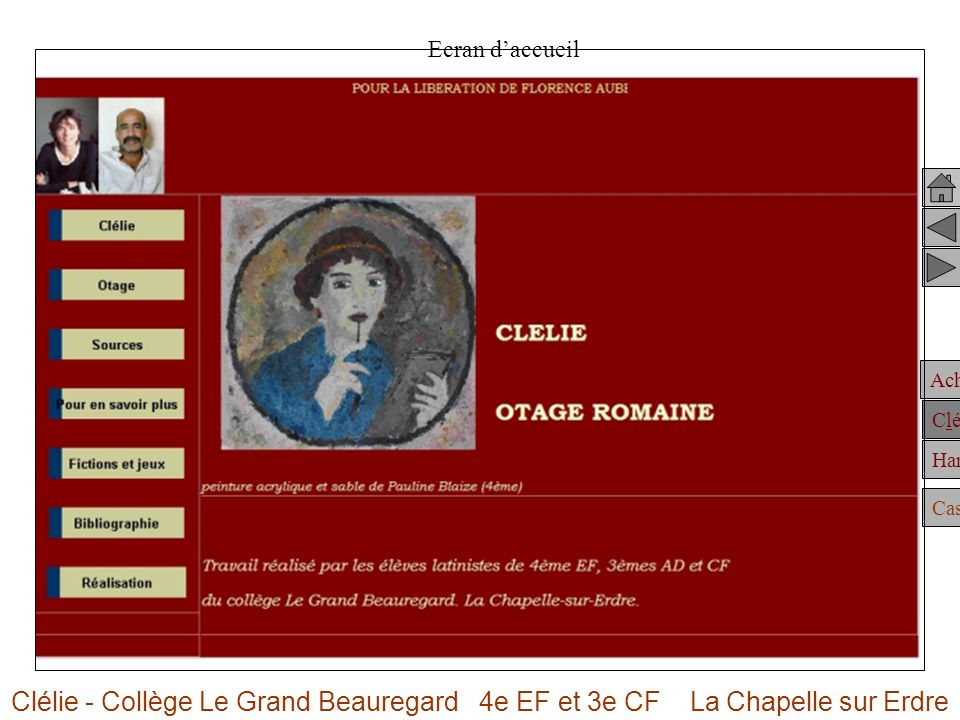 Ecran d'accueil Clélie - Collège Le Grand Beauregard 4e EF et 3e CF La Chapelle sur Erdre