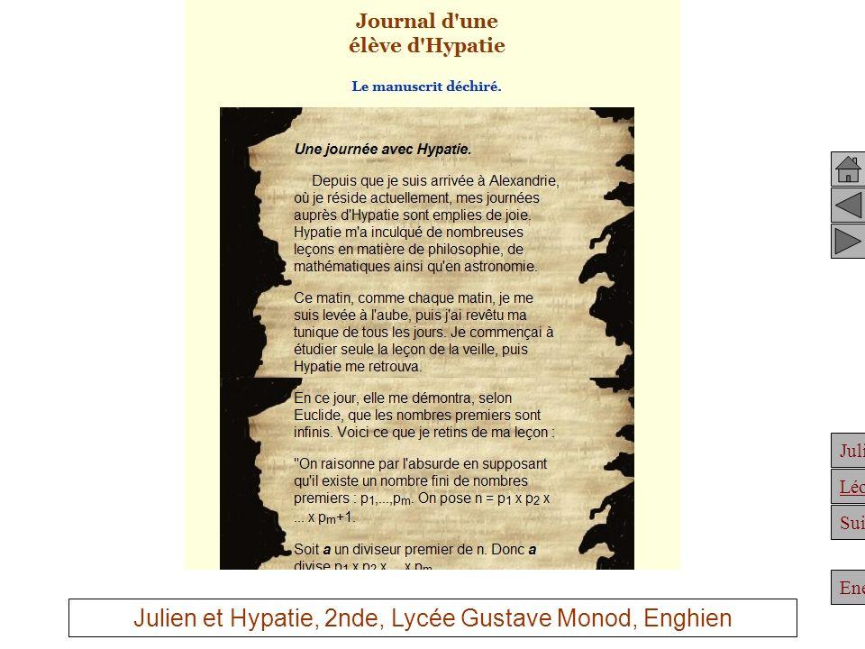 Julien et Hypatie, 2nde, Lycée Gustave Monod, Enghien