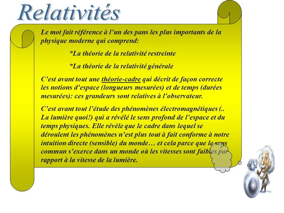 Relativités Le mot fait référence à l'un des pans les plus importants de la physique moderne qui comprend: