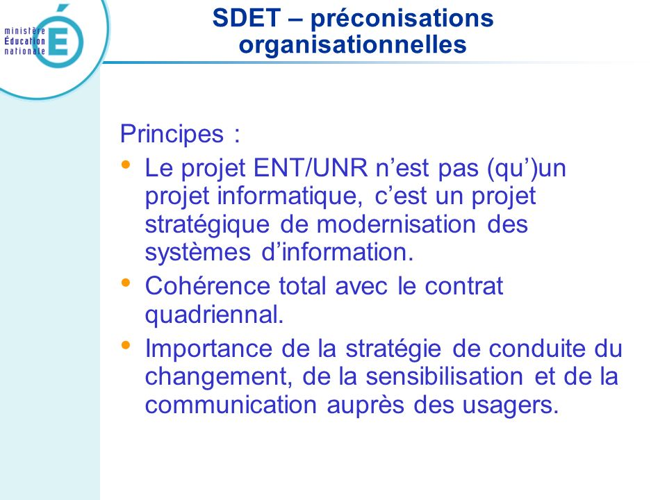 SDET – préconisations organisationnelles