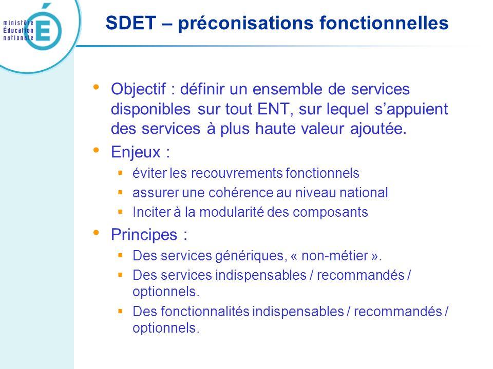 SDET – préconisations fonctionnelles