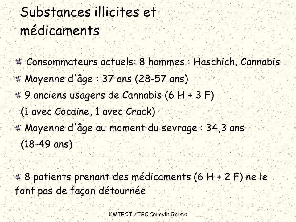 Substances illicites et médicaments