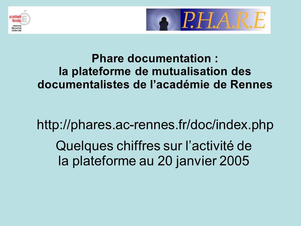 Quelques chiffres sur l'activité de la plateforme au 20 janvier 2005