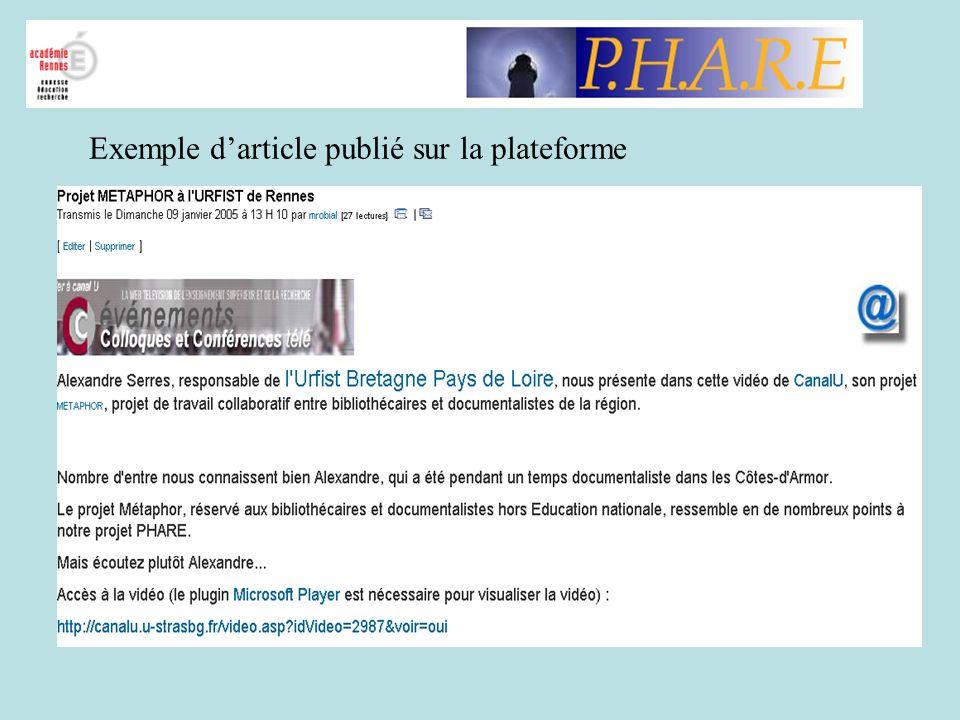 Exemple d'article publié sur la plateforme