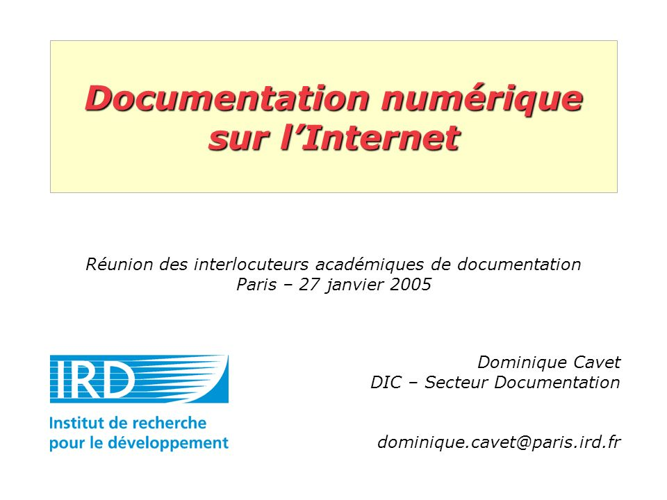 Documentation numérique sur l'Internet