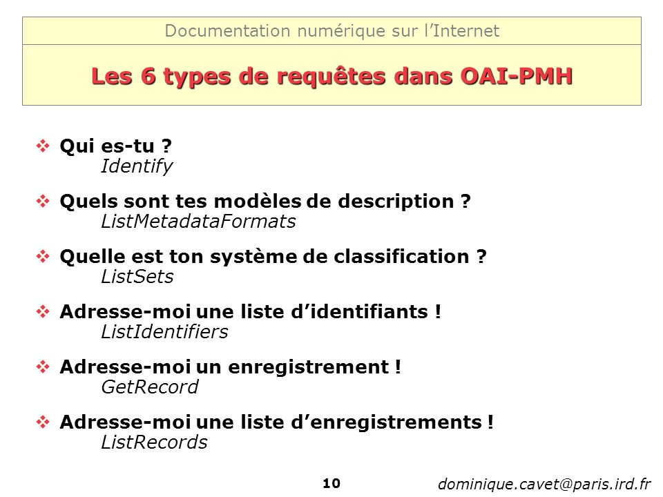 Les 6 types de requêtes dans OAI-PMH