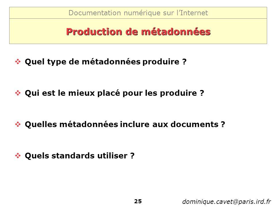 Production de métadonnées