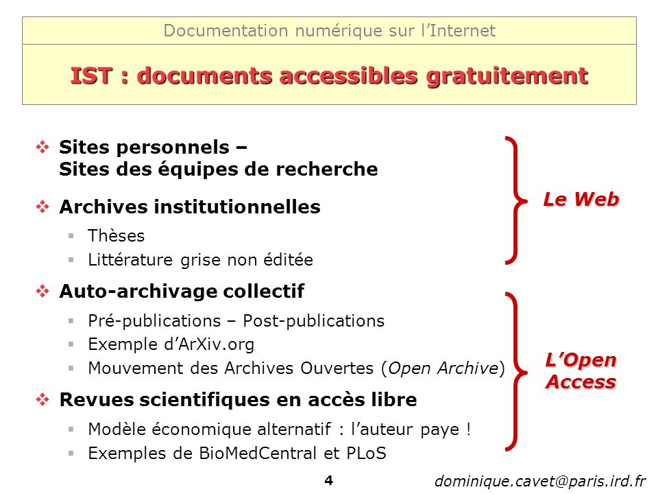 IST : documents accessibles gratuitement