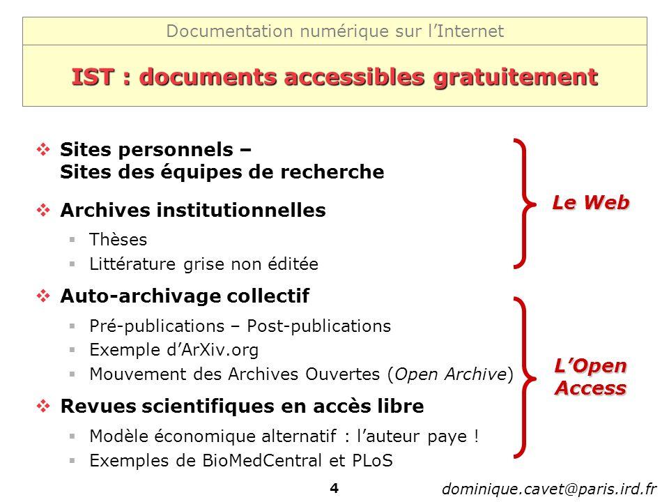 IST : documents accessibles gratuitement