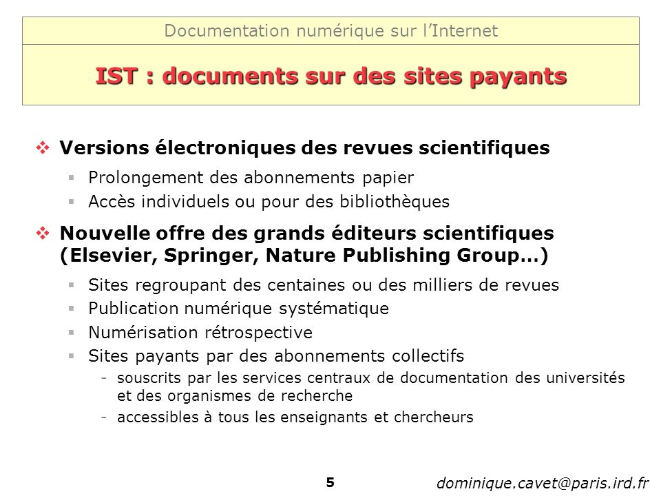 IST : documents sur des sites payants