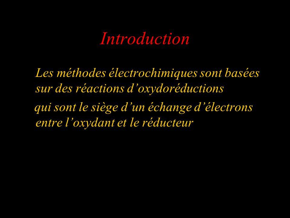 Introduction Les méthodes électrochimiques sont basées sur des réactions d'oxydoréductions.