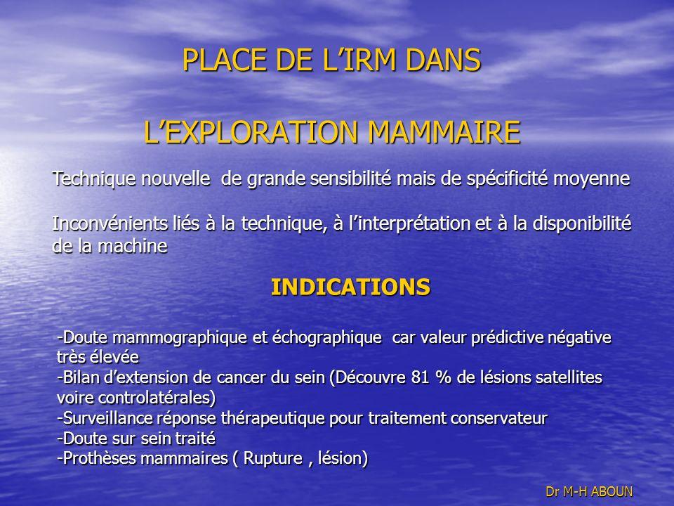 PLACE DE L'IRM DANS L'EXPLORATION MAMMAIRE