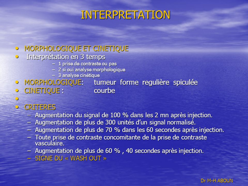 INTERPRETATION MORPHOLOGIQUE ET CINETIQUE Interprétation en 3 temps