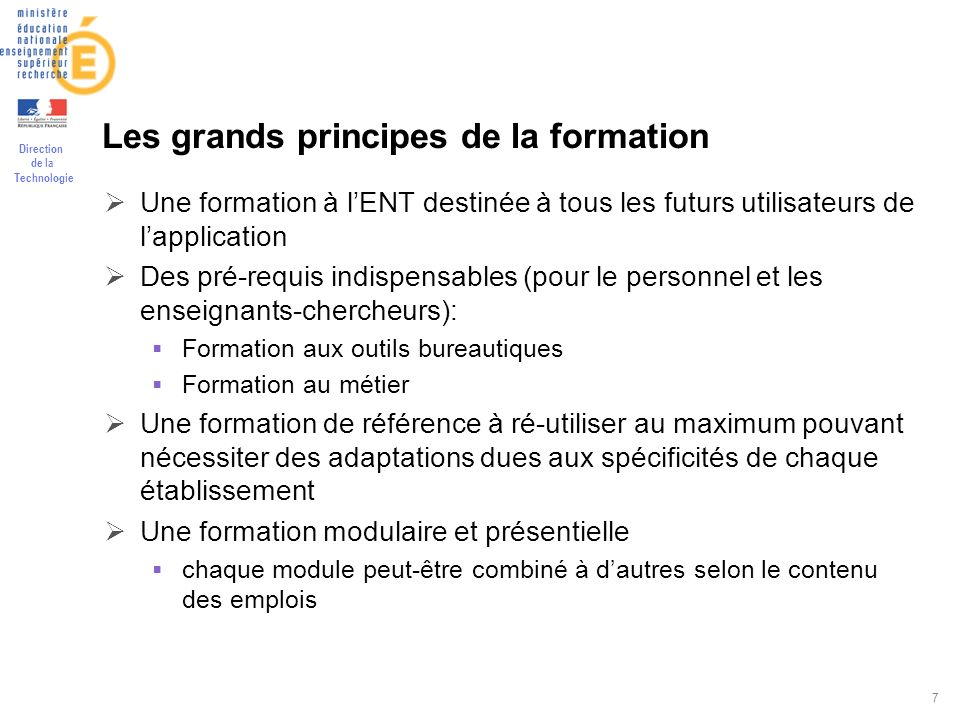 Les grands principes de la formation