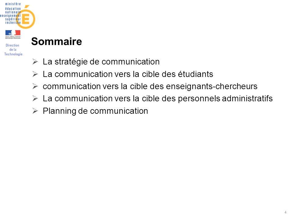 Sommaire La stratégie de communication