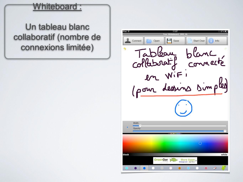 Un tableau blanc collaboratif (nombre de connexions limitée)
