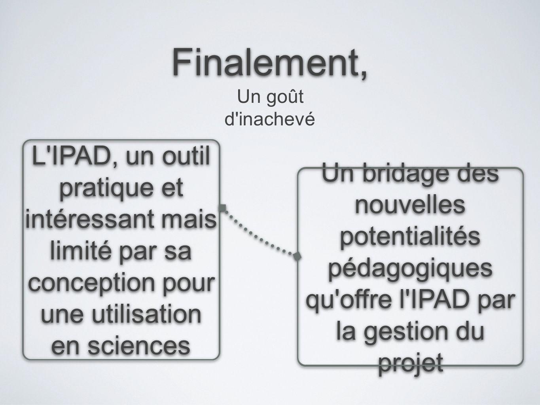 Finalement, Un goût d inachevé. L IPAD, un outil pratique et intéressant mais limité par sa conception pour une utilisation en sciences.