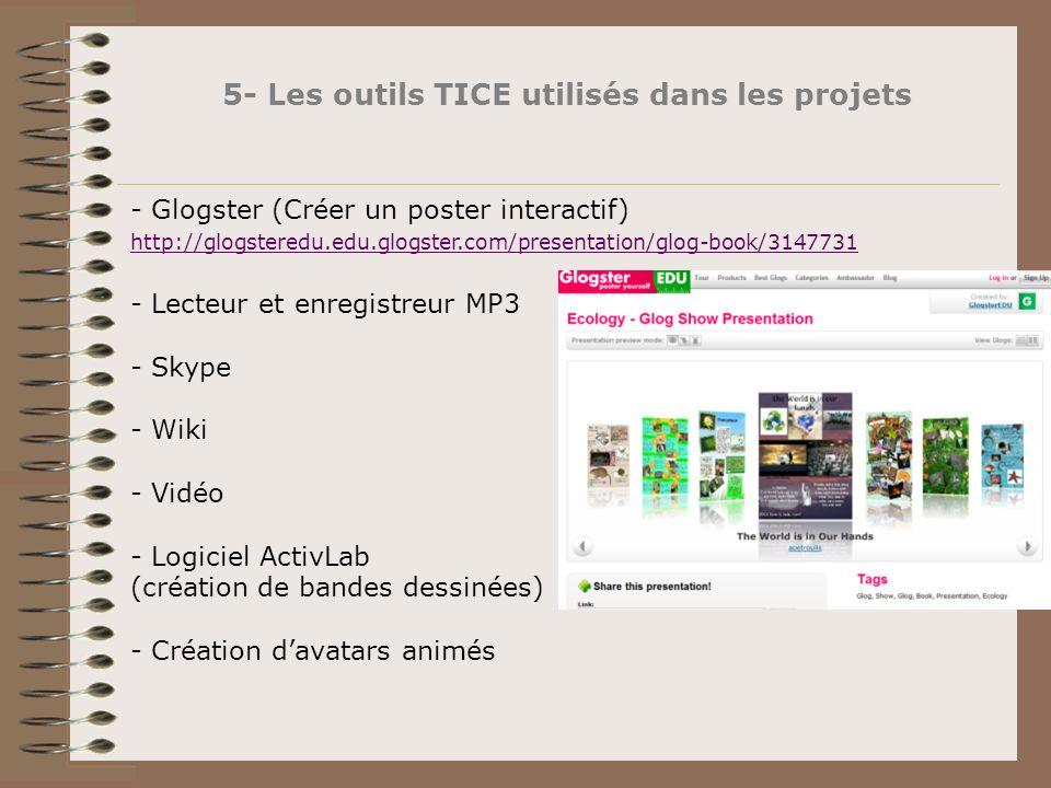 5- Les outils TICE utilisés dans les projets