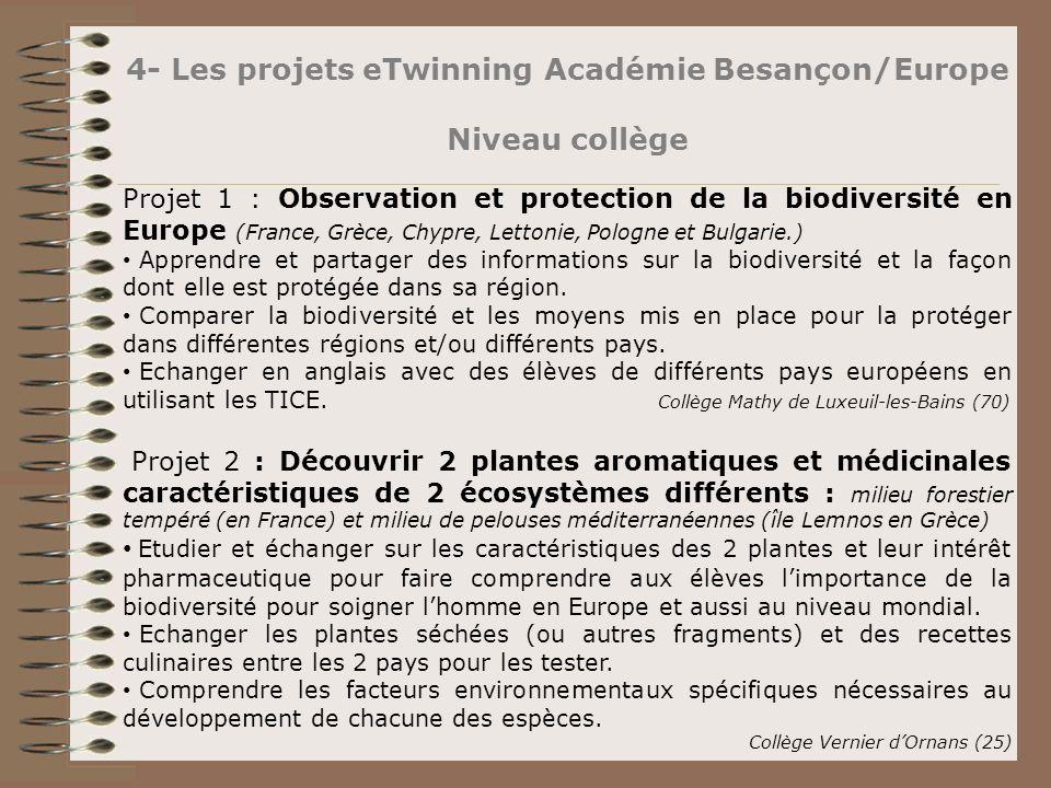4- Les projets eTwinning Académie Besançon/Europe