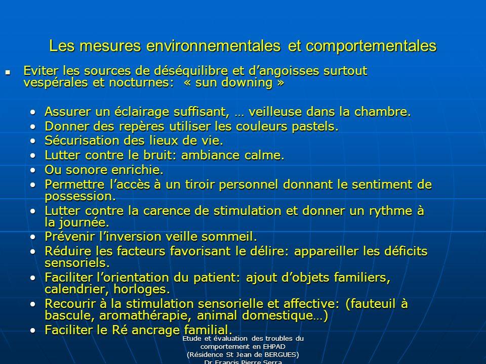 Les mesures environnementales et comportementales