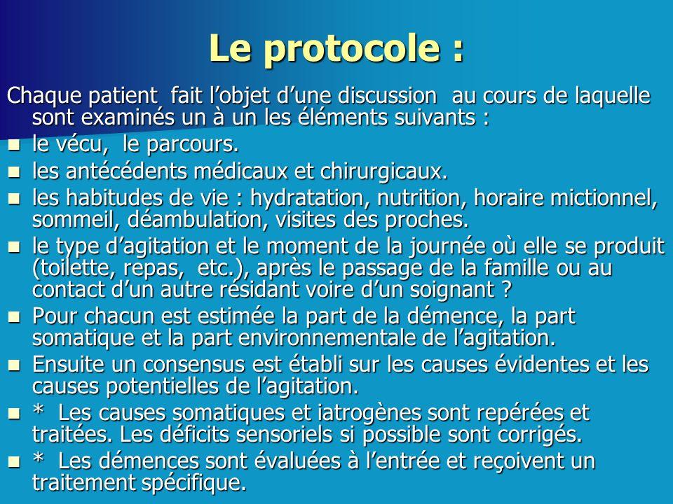 Le protocole : Chaque patient fait l'objet d'une discussion au cours de laquelle sont examinés un à un les éléments suivants :