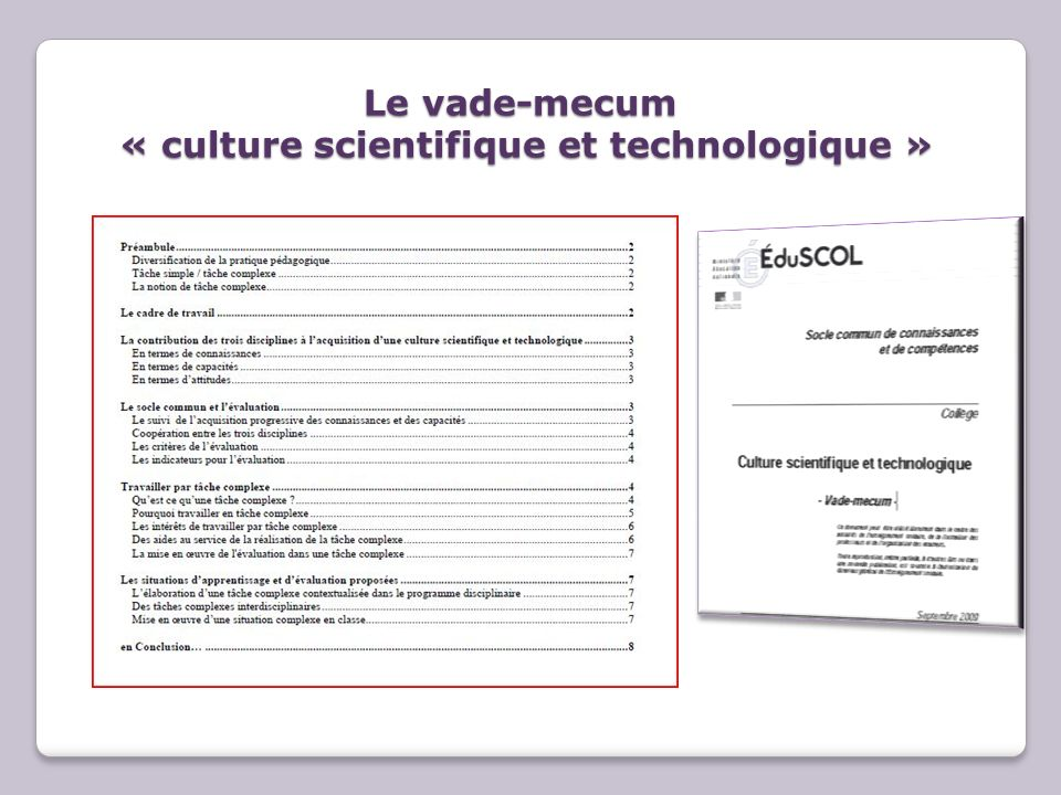 Le vade-mecum « culture scientifique et technologique »
