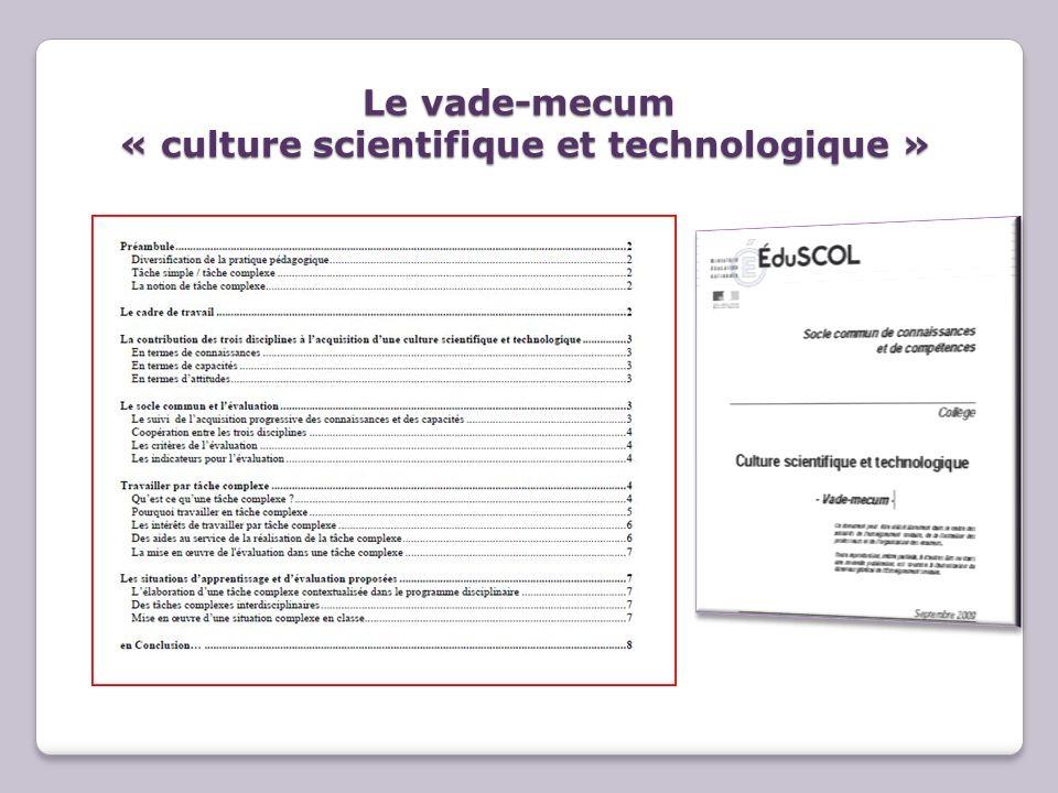 Le vade-mecum « culture scientifique et technologique »