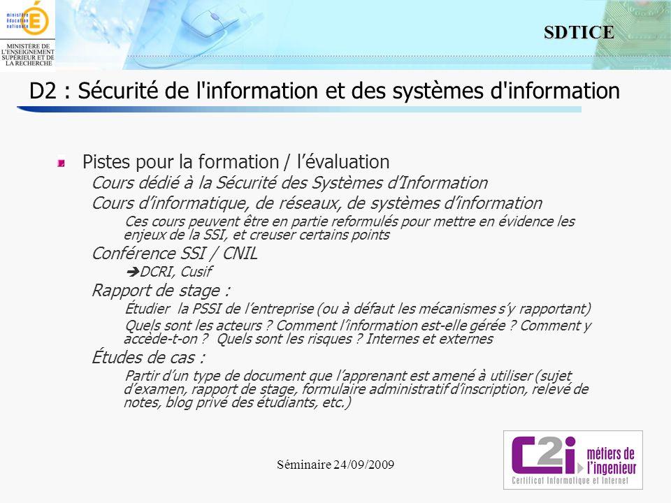 D2 : Sécurité de l information et des systèmes d information