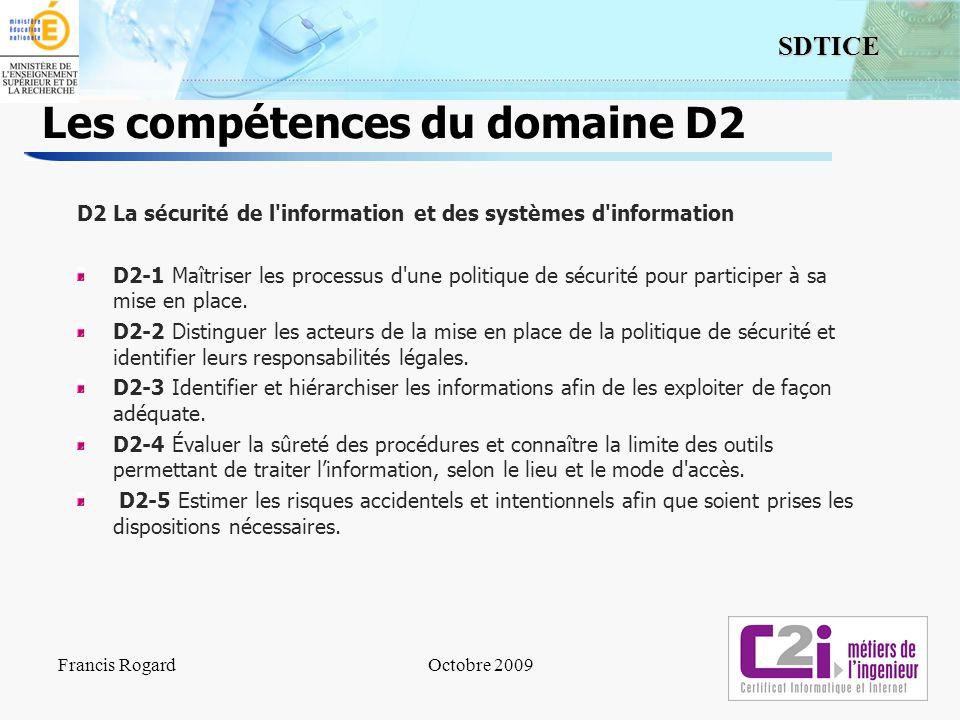 Les compétences du domaine D2