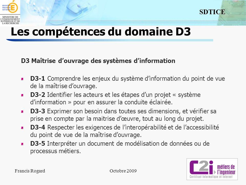 Les compétences du domaine D3