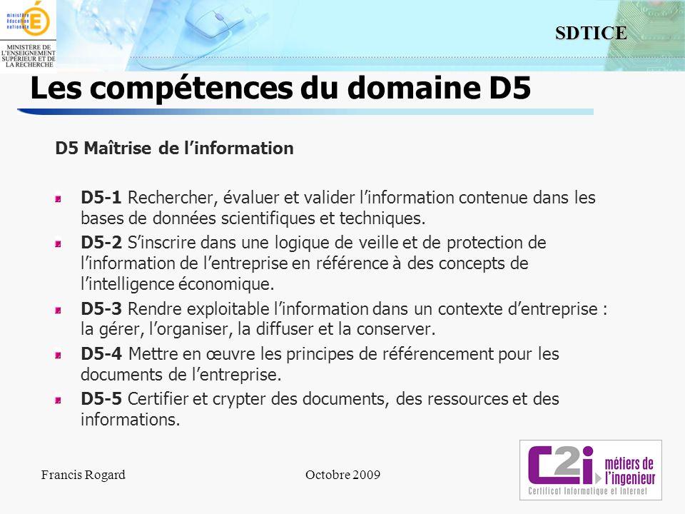 Les compétences du domaine D5
