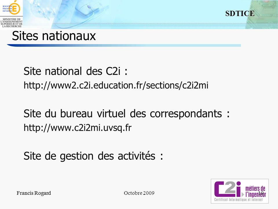 Sites nationaux Site national des C2i :
