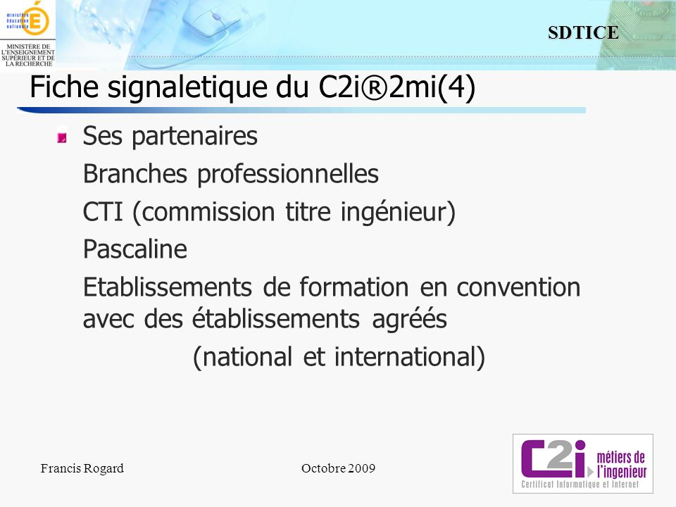 Fiche signaletique du C2i®2mi(4)