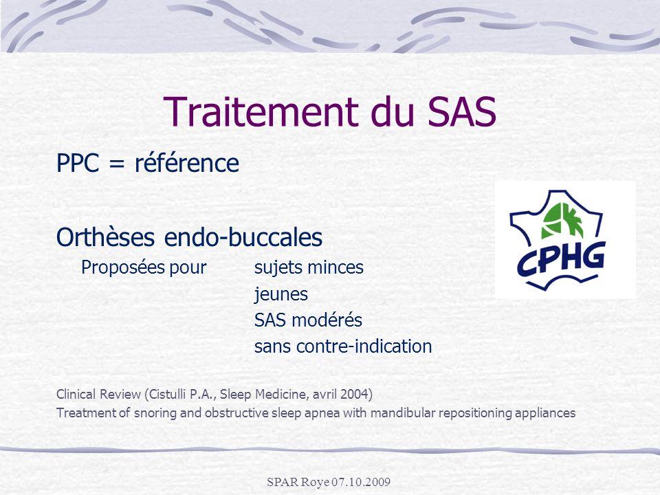 Traitement du SAS PPC = référence Orthèses endo-buccales