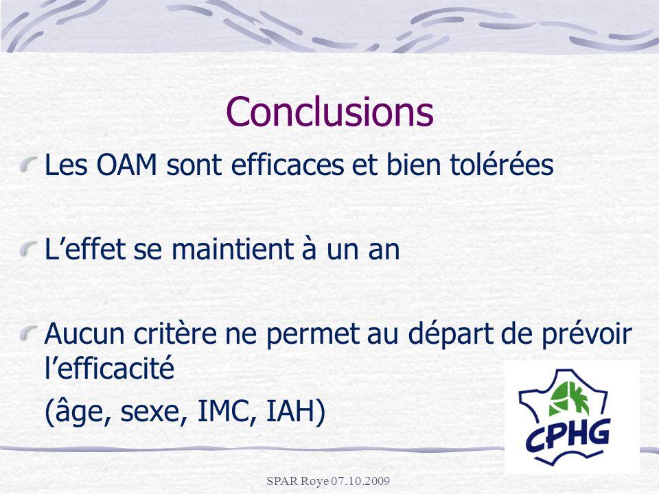 Conclusions Les OAM sont efficaces et bien tolérées