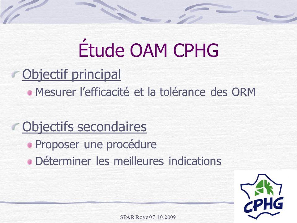 Étude OAM CPHG Objectif principal Objectifs secondaires