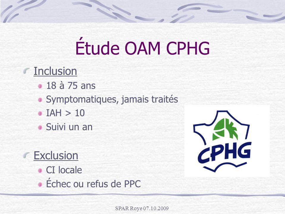 Étude OAM CPHG Inclusion Exclusion 18 à 75 ans