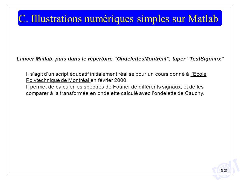 C. Illustrations numériques simples sur Matlab