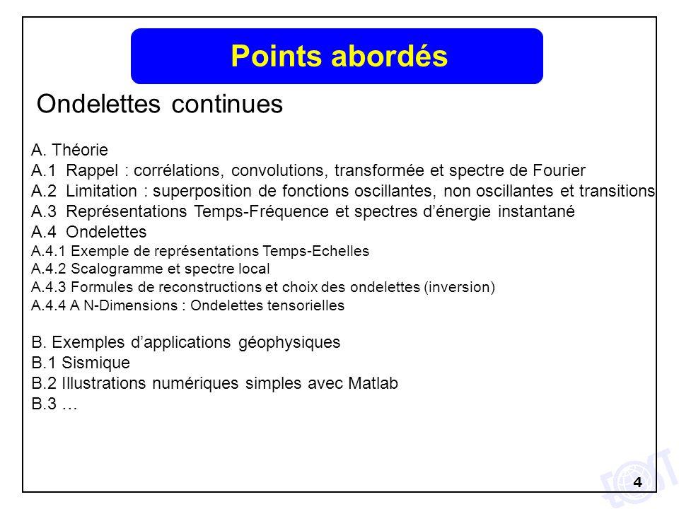Points abordés Ondelettes continues A. Théorie