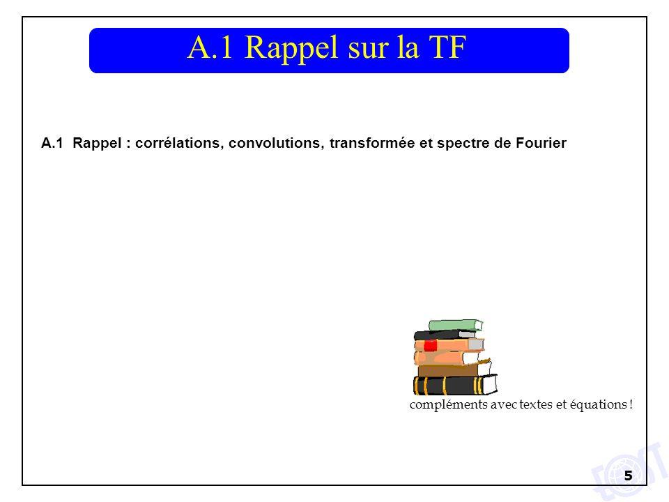A.1 Rappel sur la TF A.1 Rappel : corrélations, convolutions, transformée et spectre de Fourier.