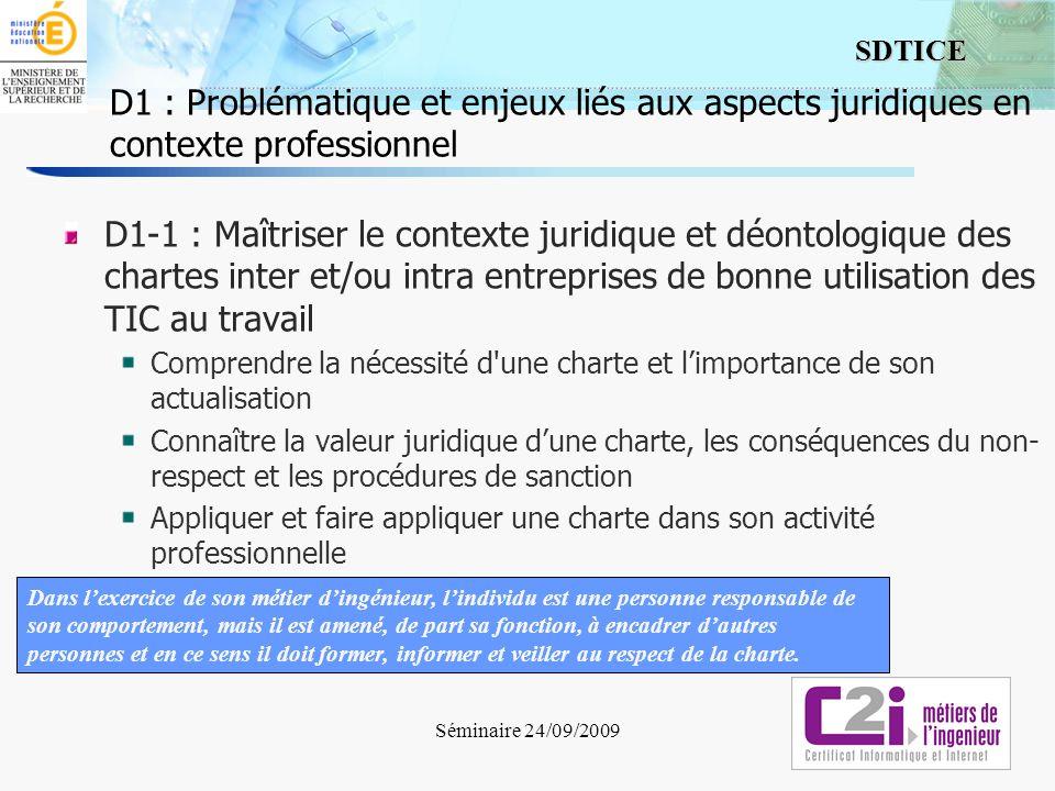 D1 : Problématique et enjeux liés aux aspects juridiques en contexte professionnel