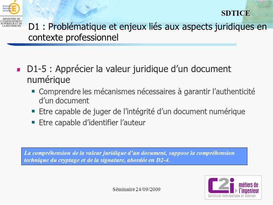 D1-5 : Apprécier la valeur juridique d'un document numérique
