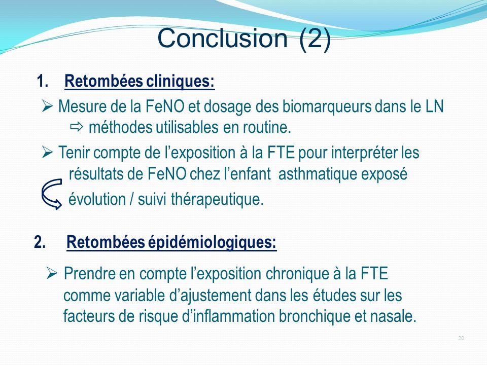 Conclusion (2)  Prendre en compte l'exposition chronique à la FTE