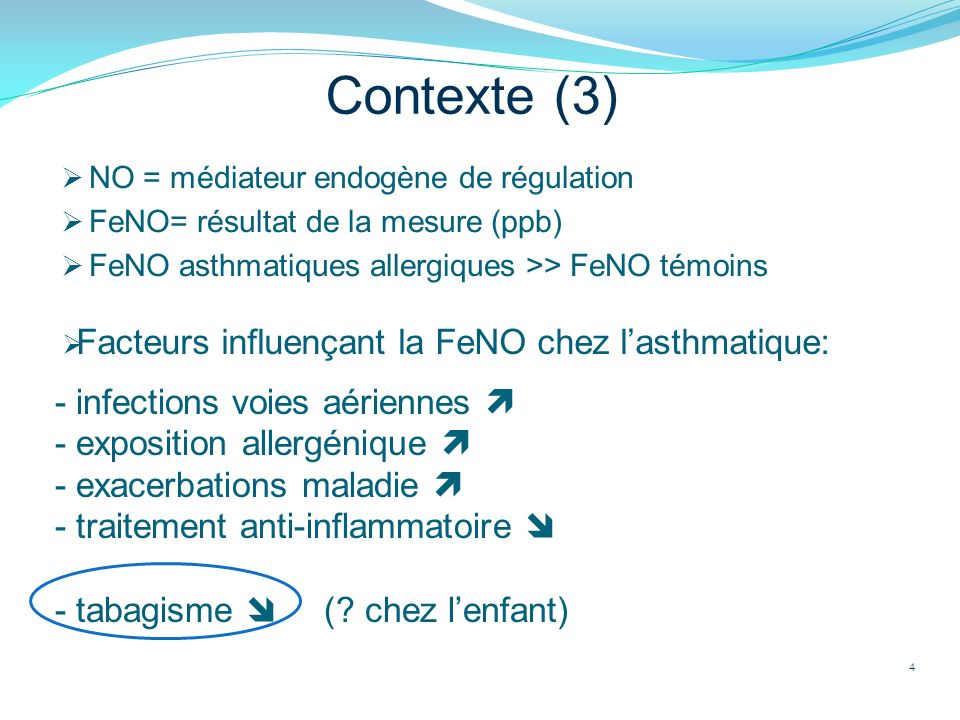 Contexte (3) Facteurs influençant la FeNO chez l'asthmatique: