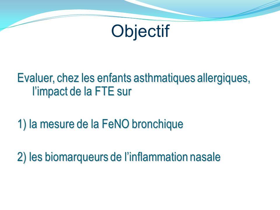 Objectif Evaluer, chez les enfants asthmatiques allergiques, l'impact de la FTE sur. 1) la mesure de la FeNO bronchique.