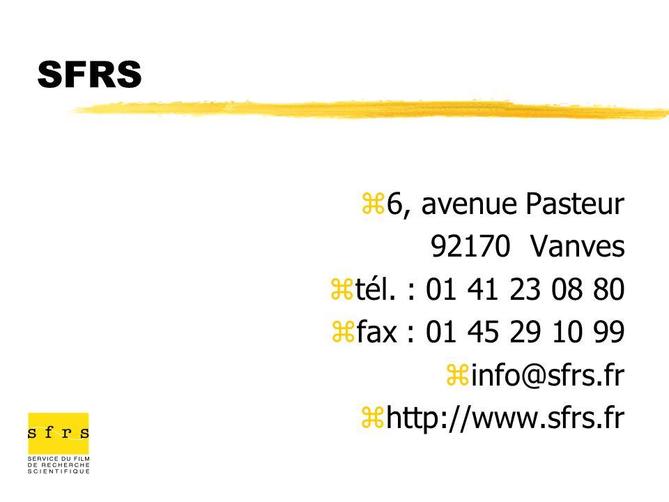 SFRS 6, avenue Pasteur 92170 Vanves tél. : 01 41 23 08 80