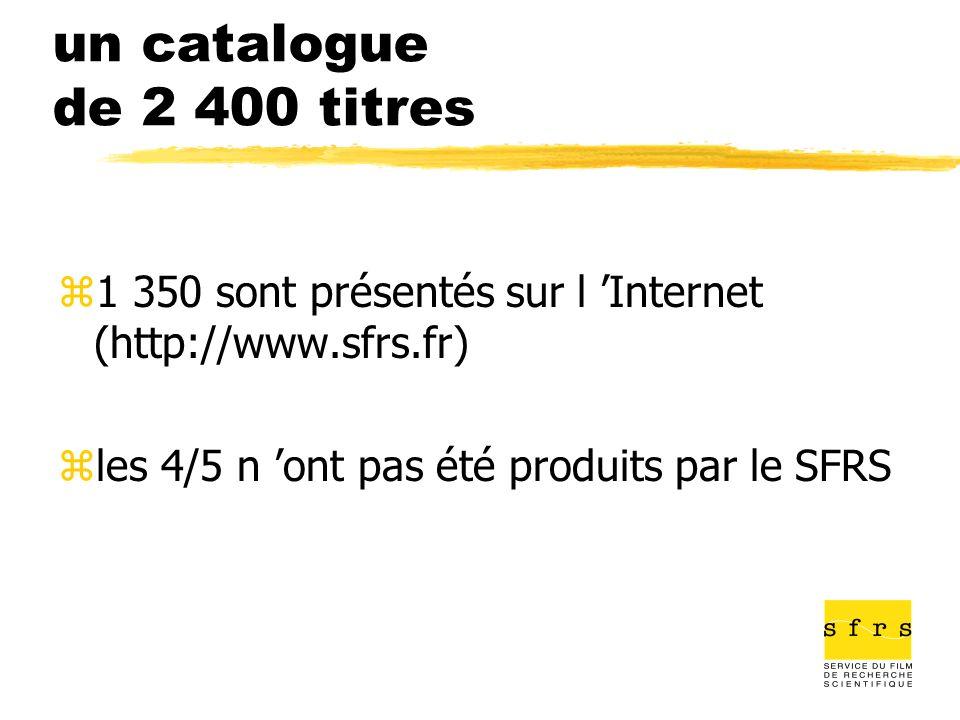 un catalogue de 2 400 titres 1 350 sont présentés sur l 'Internet (http://www.sfrs.fr) les 4/5 n 'ont pas été produits par le SFRS.