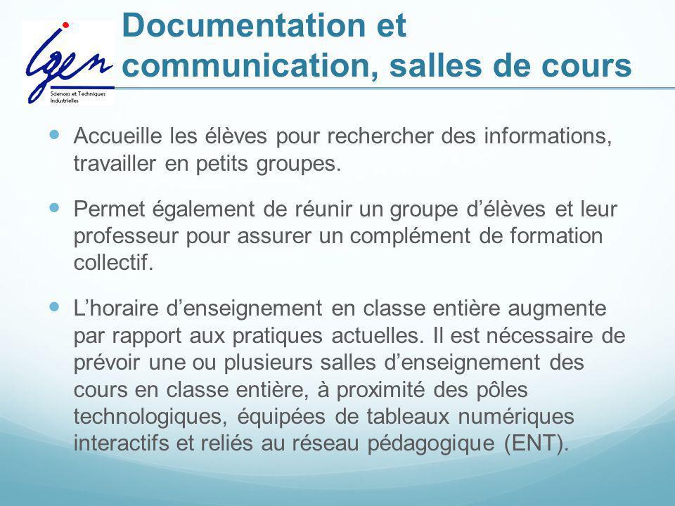 Documentation et communication, salles de cours